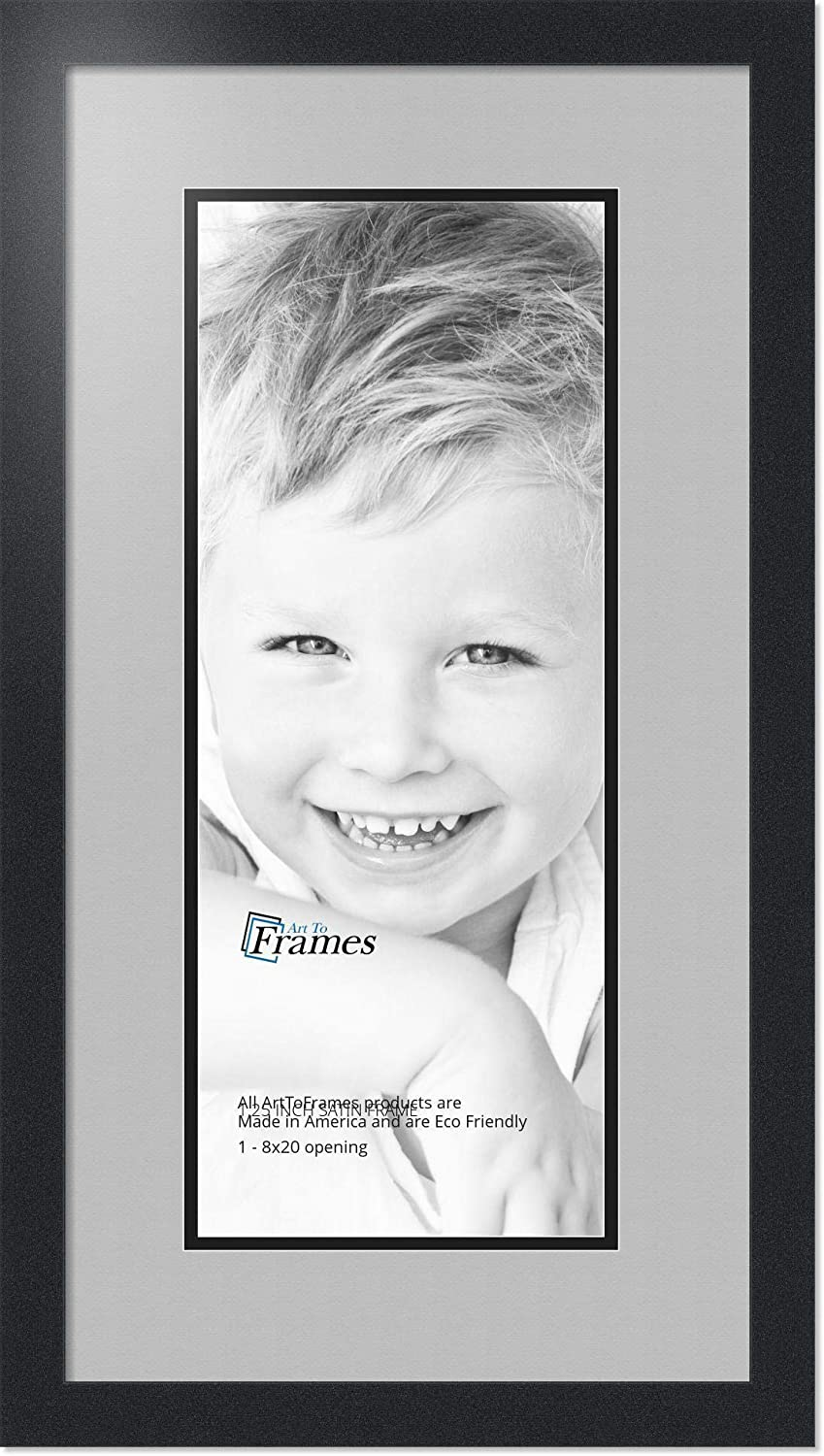 Art to Frames Double-Multimat-667-88//89-FRBW26079 Collage Photo Frame Double Mat with 1-8x20 Openings and Satin Black Frame