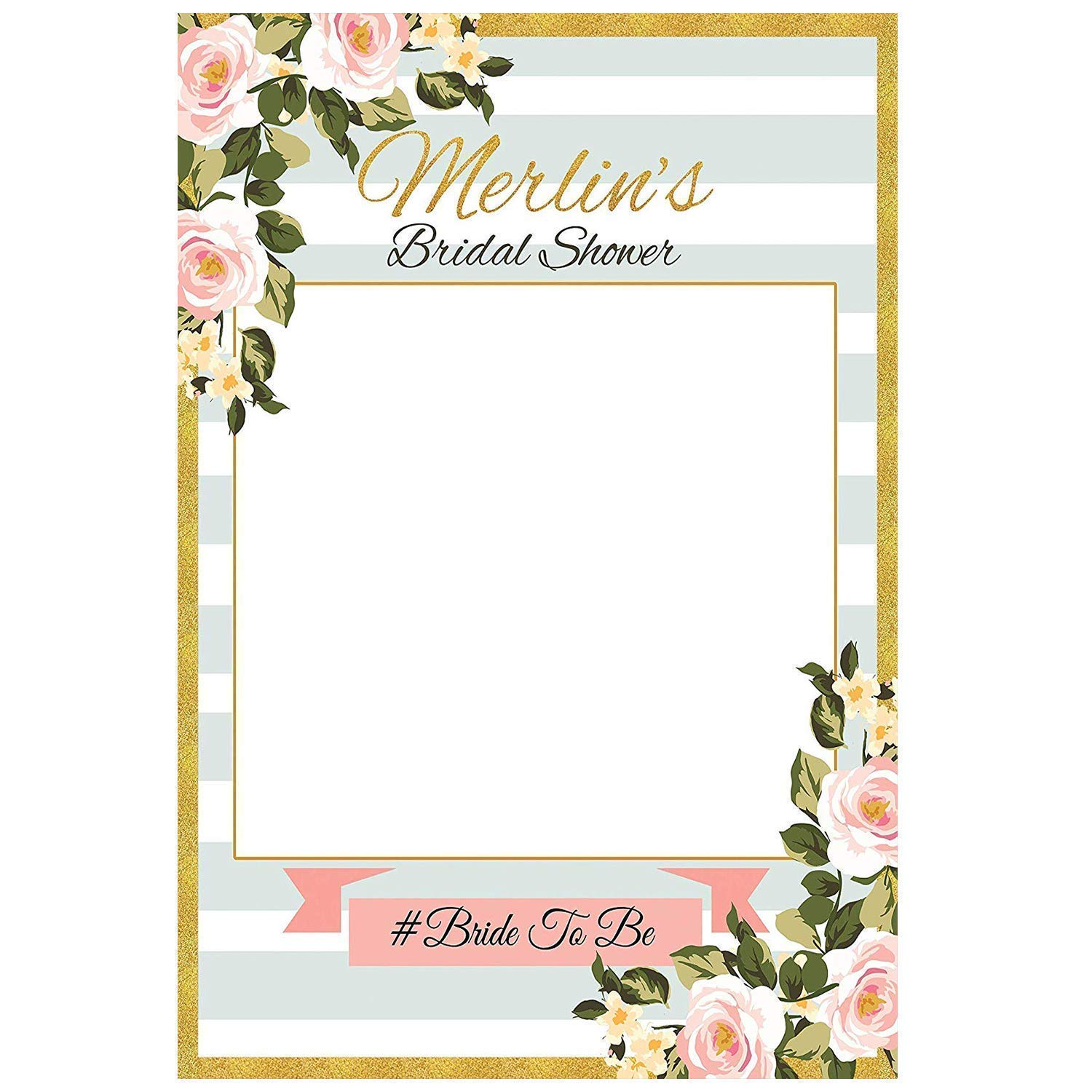 PhPr16 Bird Decor Bridal Shower Photo Prop Navy and Gold Photo Booth Frame Peony Floral Garden Party Decor DIGITAL ITEM