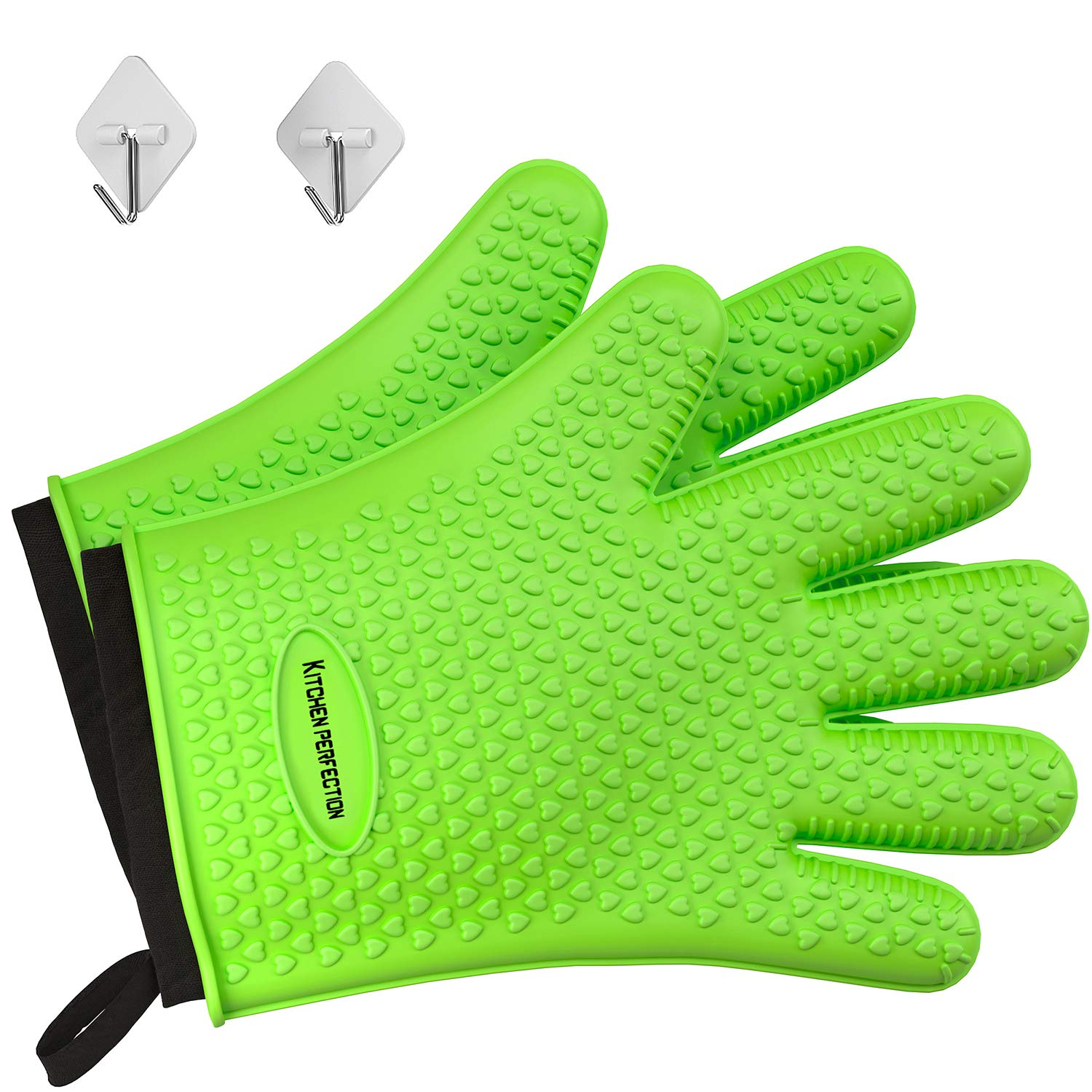 No.1 Set of Silicone Smoker Oven Gloves - Extreme Heat Resistant Washable Mitts for Safe Cooking Baking & Frying at The Kitchen,BBQ Pit & Grill. Superior Value Set + 3 Bonuses (Green)
