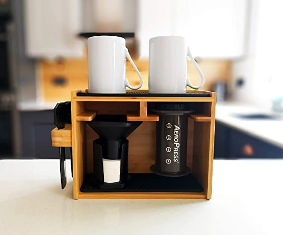 Hexnub Organiser for Aeropress Coffee Maker Premium Bamboo Stand Caddy Station Holds Aeropress Coffee Maker Filters Cups Accessories with Silicone ...