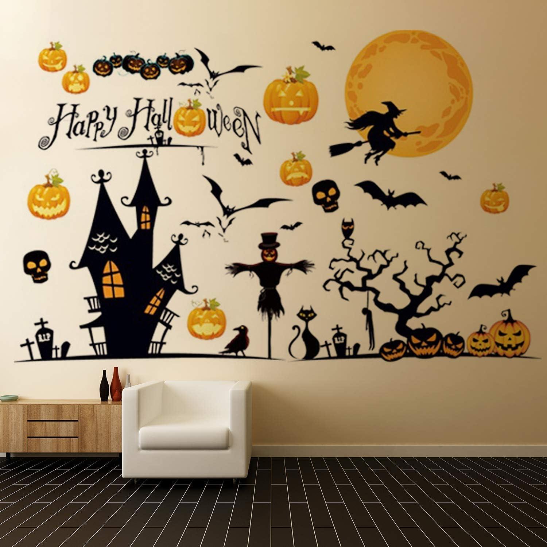 ウォールステッカー ハロウィン 飾り60×90cm かぼちゃ 枯れ木 魔女 バット お化け 壁紙シール 装飾 店 部屋 窓 ステッカー DIY ハロウィン かぼちゃ おばけ