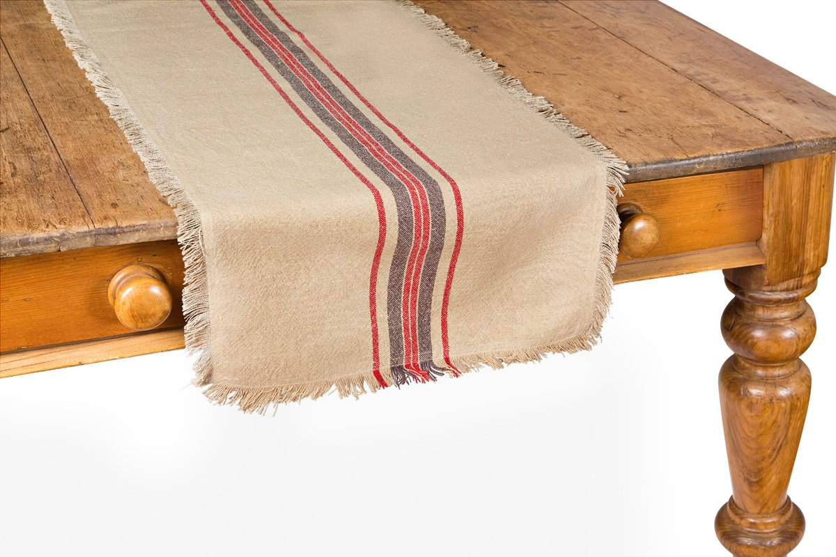 Xia Home Fashions Linen Stripe Table Runner, 16 by 72'', Natural