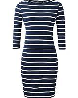 vanberfia Women's Striped Tunic Dress Casual 3/4 Sleeve T-shirt Dress
