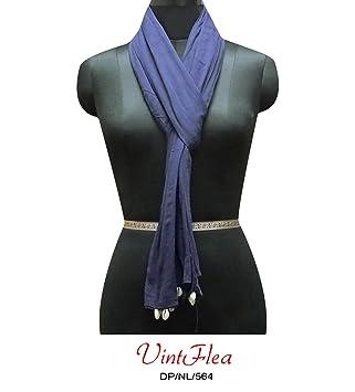azul larga estola indio tela sari de algodón artesanal bufandas dupatta abrigo robó mujeres utilizaron 90