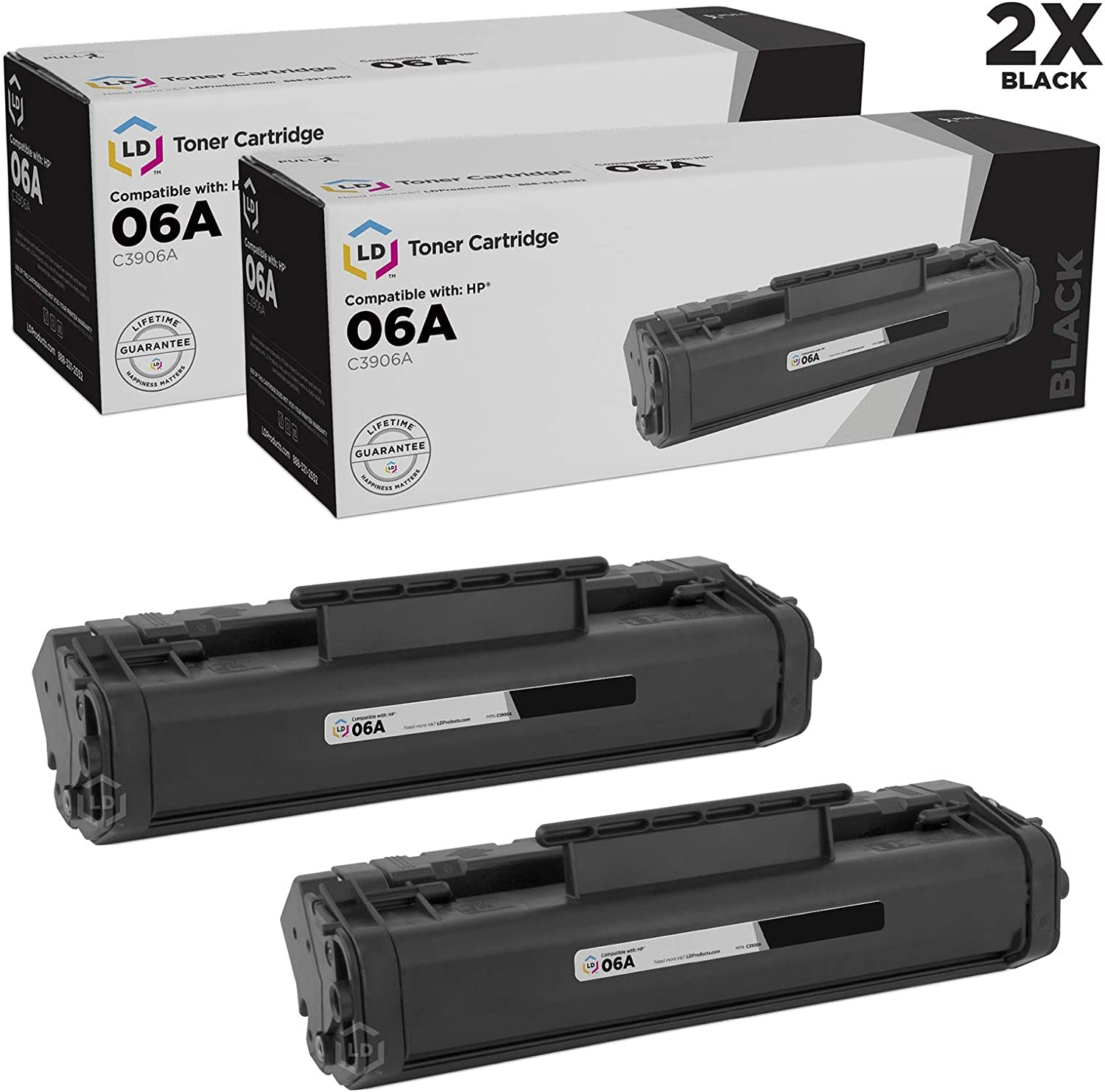 LD Remanufactured Toner Cartridge Replacement for HP 06A C3906A (Black, 2-Pack)