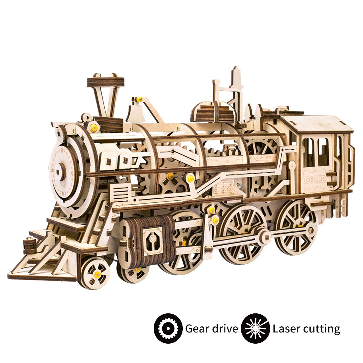 ROBOTIME 3D Assembly Wooden Puzzle Laser-Cut Locomotive Kit Mechanical Gears Toy Brain Teaser Games Best Birthday Gifts for Engineer Husband & Boyfriend & Teen Boys & Adults LK701