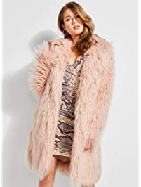 GUESS Womens Standard Long Sleeve Serenity Fur Coat