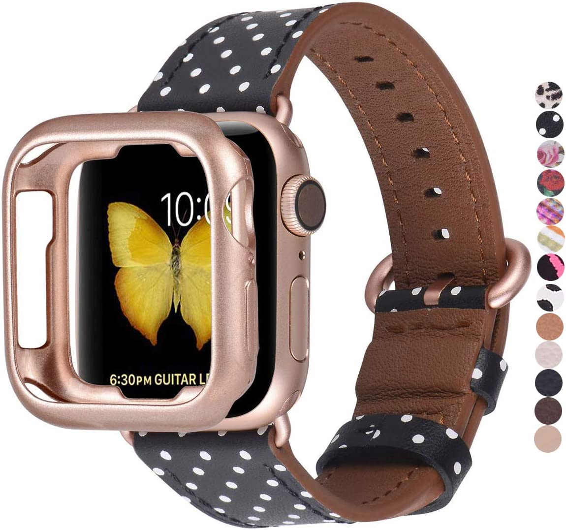 JSGJMY Compatible with Apple Watch Band 38mm 40mm with Case,Women Genuine Leather Strap with Rose Gold Clasp for iwatch Series 5/4/3/2/1, Black & White Polka Dot