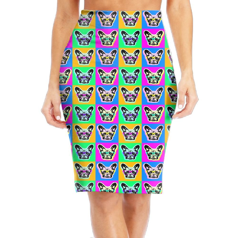 Glasses French Bulldog Women's Stretchy Mini Pencil Skirt Slimming Basic Bodycon Office Dress