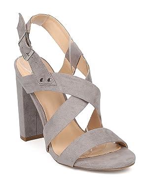 Women Faux Suede Block Heel Sandal - Strappy Chunky Heel - Open Toe Heel - GI24 By Wild Diva - Grey Faux Suede (Size: 5.5)