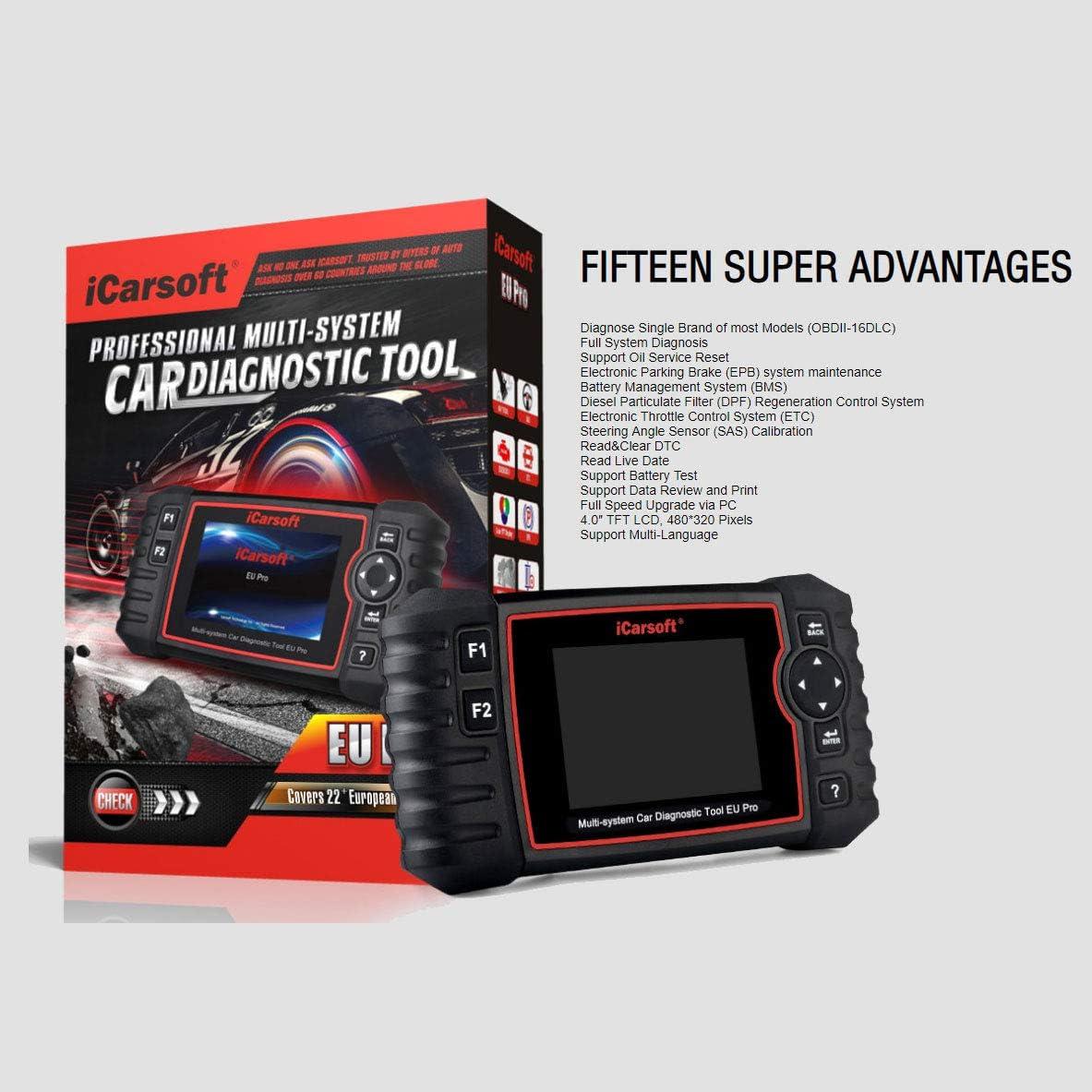 iCarsoft EU Pro Diagnostic Scan Tool for European Vehicles EPB+BMS+DPF+SAS+ETC Oil Reset
