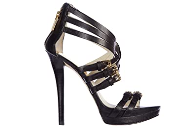 d4128d6c8499 Michael Kors Women s Leather Heel Sandals ava Platform Black UK Size 6.5  40S5AVHS2L