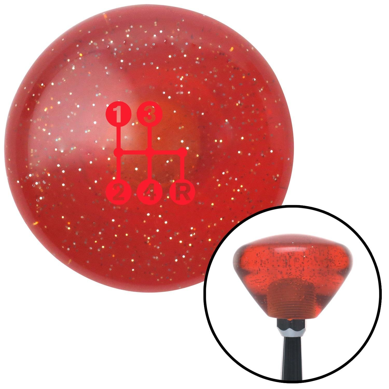 American Shifter 288786 Shift Knob Red 4 Speed Shift Pattern - Dots 6n Orange Retro Metal Flake