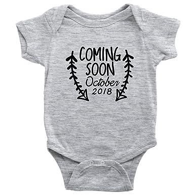 97fc7caea Teehub Coming Soon October 2018 Baby Onesie Pregnancy Maternity  Announcement Baby Birth Bodysuit (Heather Grey