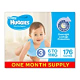 Huggies Ultra Dry Nappies, Boys, Size 3 (6-11kg), 176 Count, Size 3, One-Month Supply