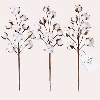 "Allora Decor Farmhouse Rustic 21"" Cotton Stems Brown"