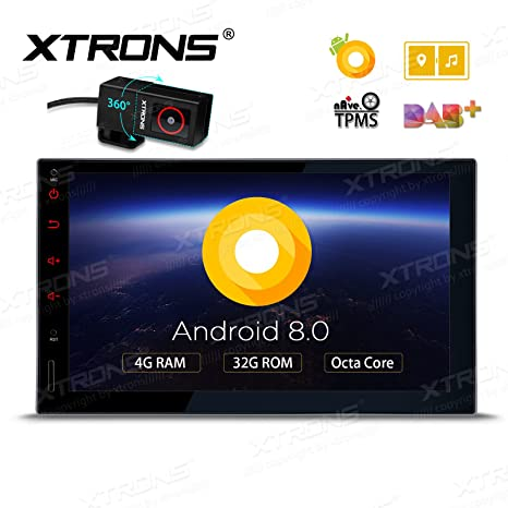 XTRONS 7 Inch Android 8 0 Octa Core 4G RAM 32G ROM HD Digital Multi-Touch  Screen Car Stereo GPS Radio OBD2 TPMS Double 2 Din with DVR