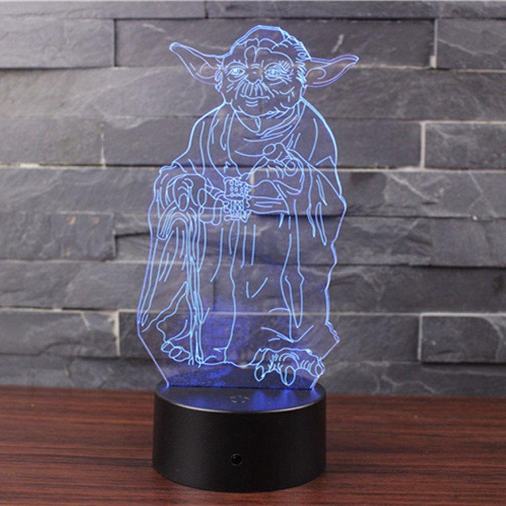 lampada da scrivania San Valentino Della Decorazione della Casa Del Regalo di Natale Maestro Yoda NHsunray Lampada effetto 3D Luce notturna regolabile con 7 colori LED e Interruttore tattile
