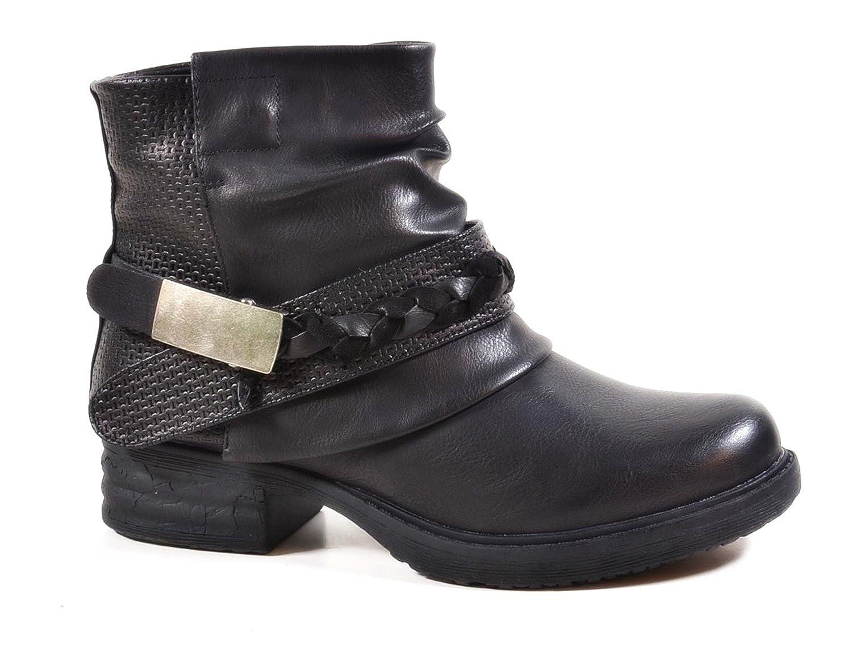 Damen Stiefeletten Biker Boots Nieten Schnallen Knöchelhohe Stiefel Leder- Optik QBZ  Amazon.de  Schuhe   Handtaschen 5380988e15
