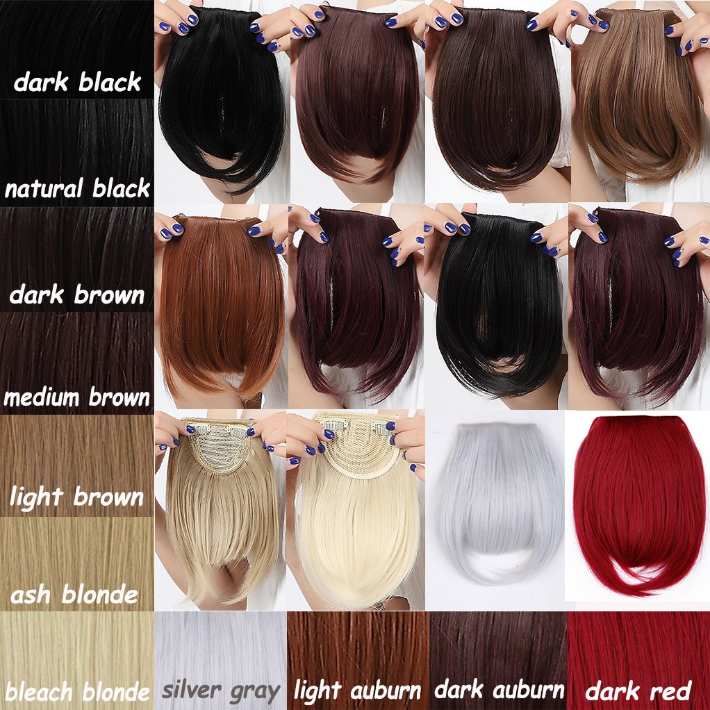 "Long Bangs 8""(20cm) Clip-in Hair Extensions 2clips Bang Full Fringe Short Straight Hairpiece Accessories (Straight-8""(20cm), Light Auburn)"
