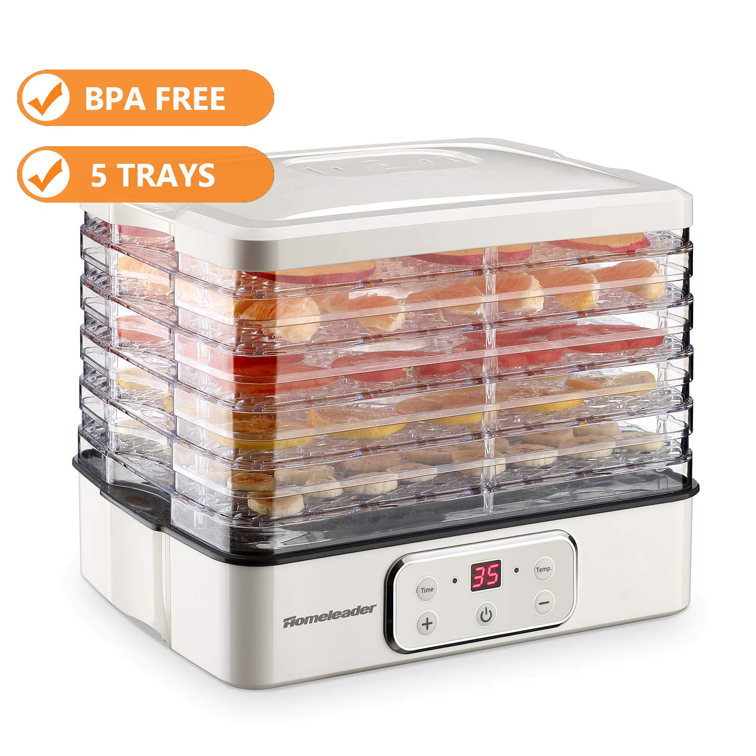 Food Dehydrator, Electric Digital Food Dehydrator Machine for Jerky, Fruit, Vegetables & Nuts, Vegetable Dryer with Timer and Temperature Control, Homeleader Food Dehydrator with Five Trays, LCD Display Screen, K33-022