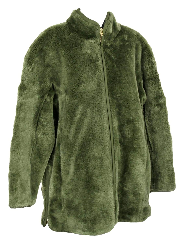 J Crew Womens Faux Fur Zip Up Coat Jacket Size Large J9064 Distressed Fatigue Green