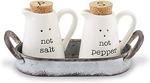 Mud Pie 40250009 Farmhouse Inspired Ceramic Aluminum Salt and Pepper Caddy Set, One size, White