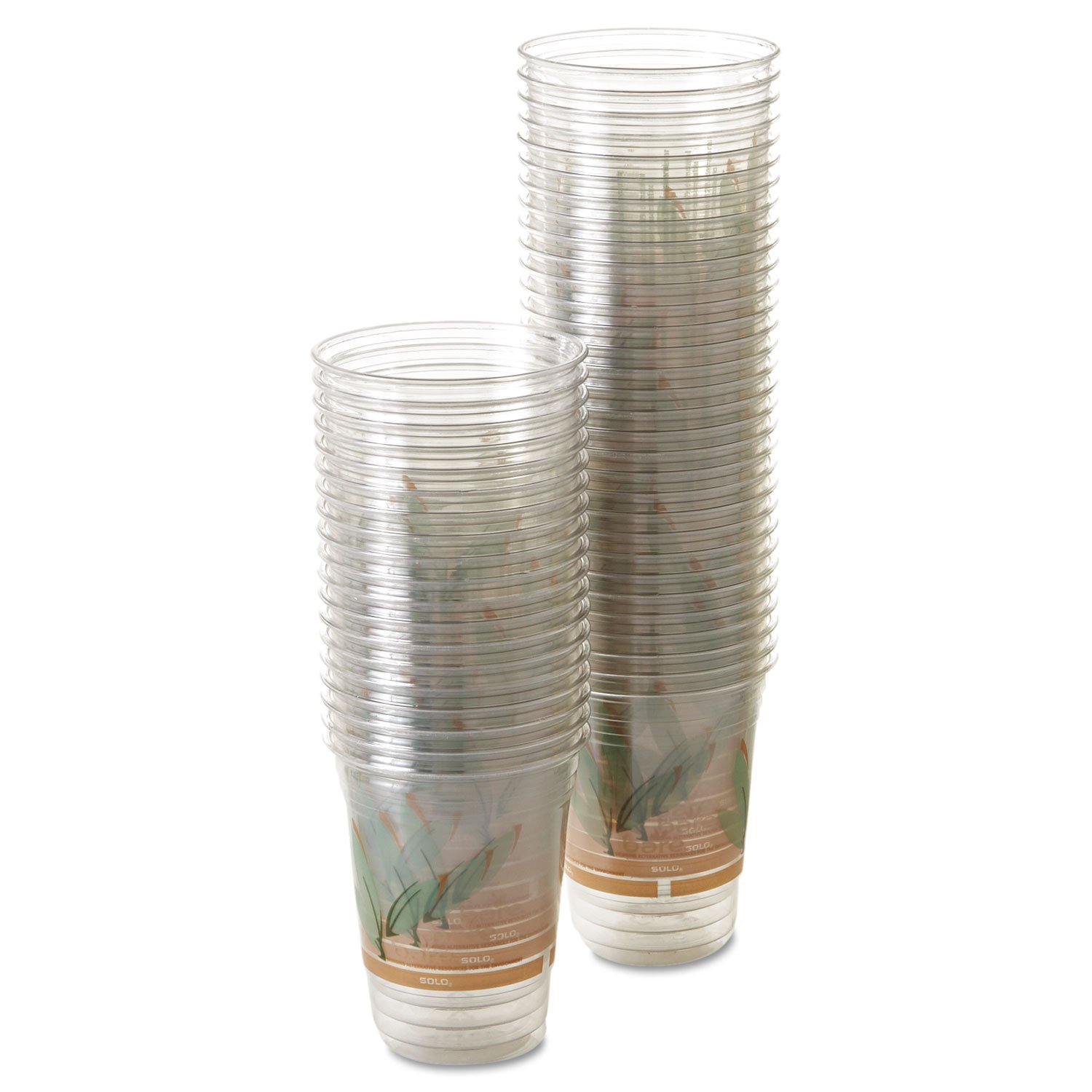 SOLO Cup Company RTP16DBARECT Bare Eco-Forward RPET Cold Cups, 16-18 Oz, Clear, Pack of 50 (Case of 1000)