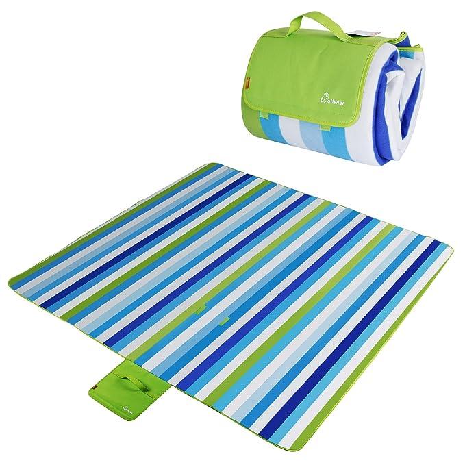 TRESKO XXL 195 x 150 cm coperta per picnic acrilico impermeabile termoisolante e morbida PNDKE31 telo da campeggio per esterni con maniglia per il trasporto