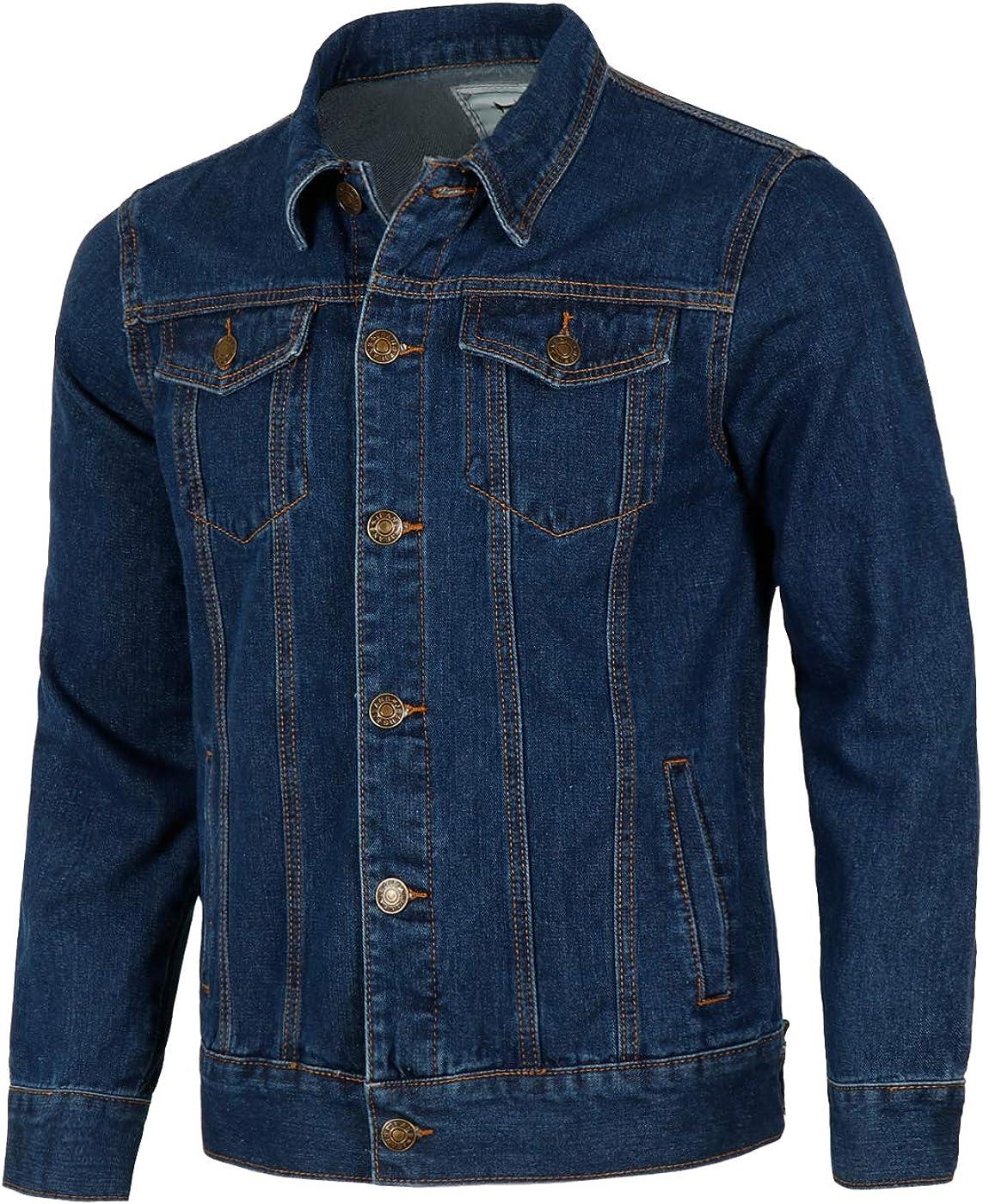 Yingqible Mens Denim Coat Autumn Winter Button Vintage Denim Jeans Trucker Jacket Classic Western Style Coat Top