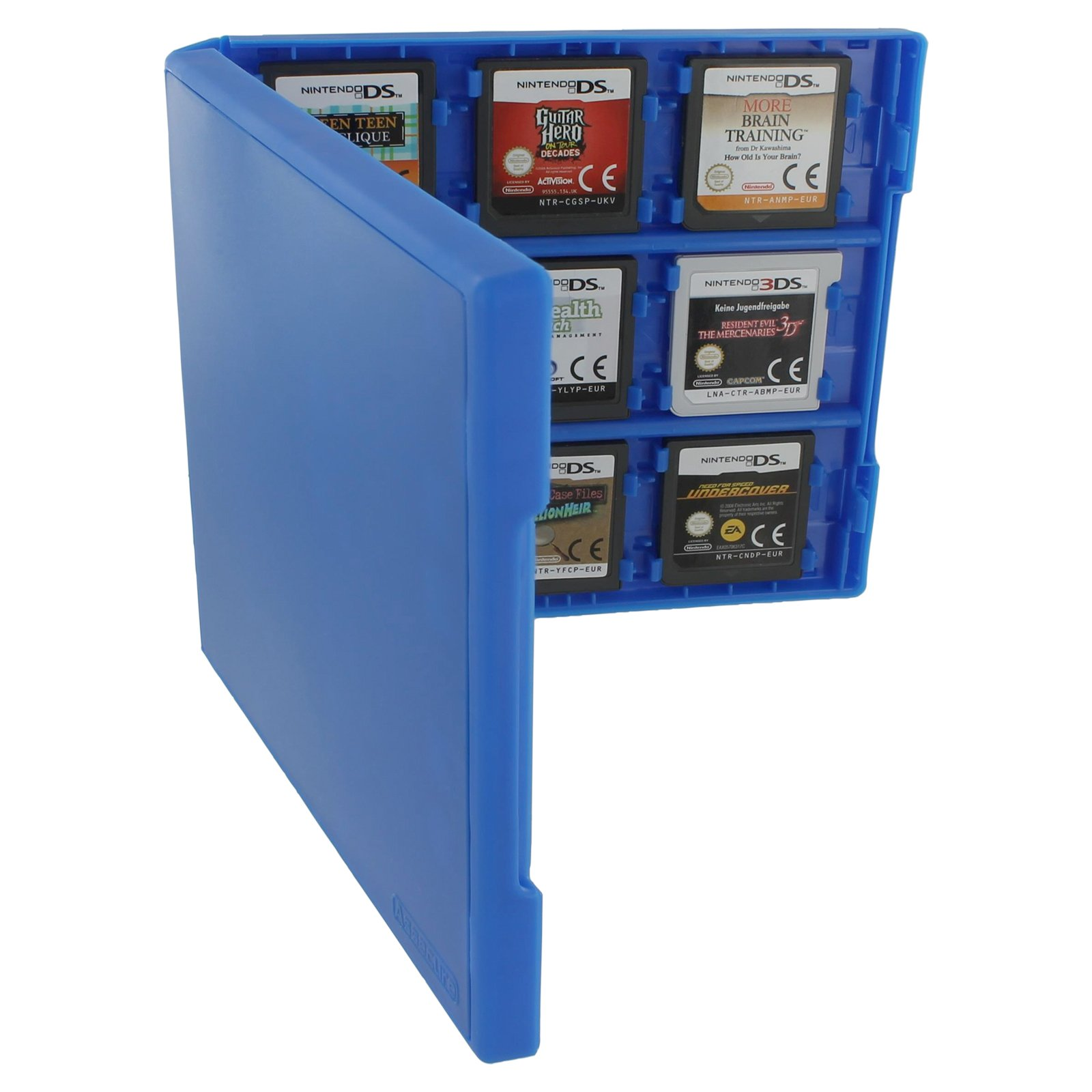Assecure pro blue 18 in 1 game cartridge holder storage system folio style case box for Nintendo 3DS, 2DS & DS game cards