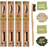 4er Pack ♻ Bambus Zahnbürste mit reinem Bambus-Holz ✮ vegan ✮ biologisch abbaubar ✮ 100% frei von BPA ✮ Borsten mit Bambus-Holzkohle für beste Sauberkeit