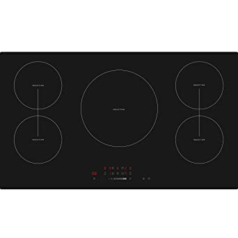 Cookology CIT901 90cm 5 Zone Built In Touch Control Induction Hob Black