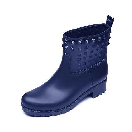 364ee673657a23 DKSUKO Women s Rain Boots with Fashion Rivet Short Ankle Waterproof Rubber  Boots 6 Colors (7