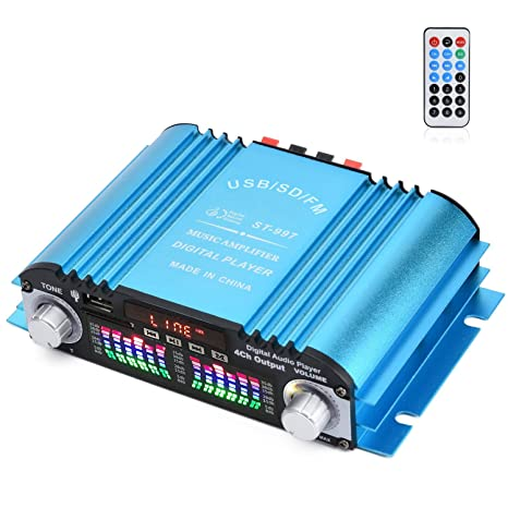 4 Channel Digital Amplifier with Romote Controller, HiFi Stereo SD Card USB  MP3 Play Power Amplifier 180W Peak Power