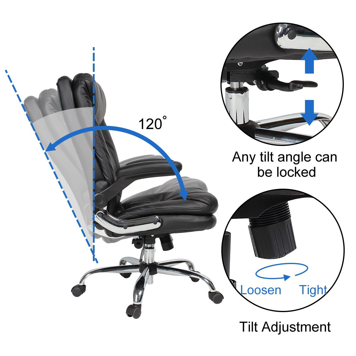 YAMASORO Ergonomic Home Office Chair with Flip-Up Arms and Comfy Headrest PU Leather High-Back Computer Desk Chair Big and Tall Capacity 330lbs Black by YAMASORO (Image #7)