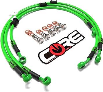 Pro Braking PBC7768-KAW-GOL Braided Clutch Line Kawasaki Green Hose /& Stainless Gold Banjos