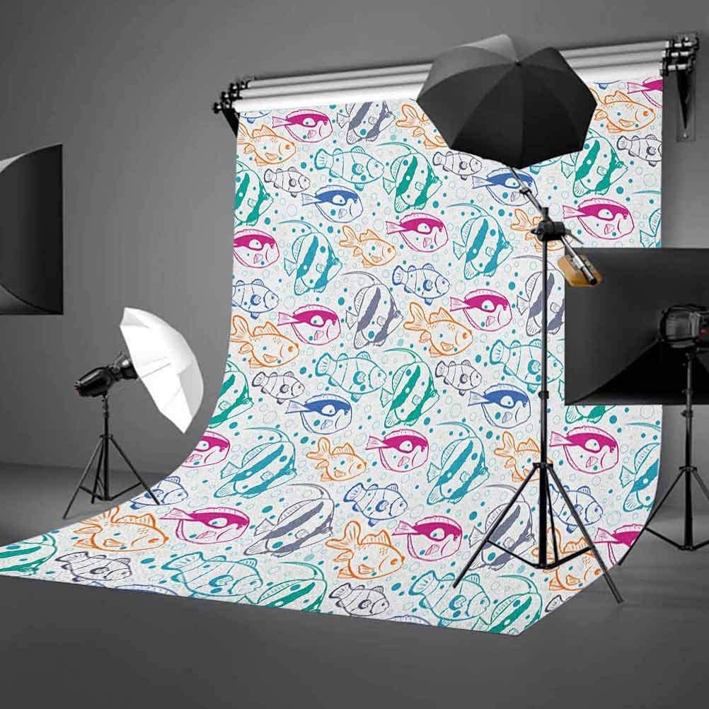 9x16 FT Vinyl Photography Backdrop,Marine Design Ocean Animals Underwater Hand Drawn in Lively Colors Retro Cartoon Style Background for Child Baby Shower Photo Studio Prop Photobooth Photoshoot