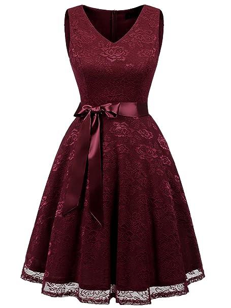 new product a4571 8420e IVNIS Damen Ärmellos Vintage Spitzen Abendkleider Cocktail Party Floral  Kleid