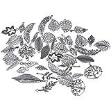 Souarts Mixte Plume Feuille Pendentifs Breloques DIY Bijoux accessoires Aleatoire Couleur Argent vieilli Lot 20pcs