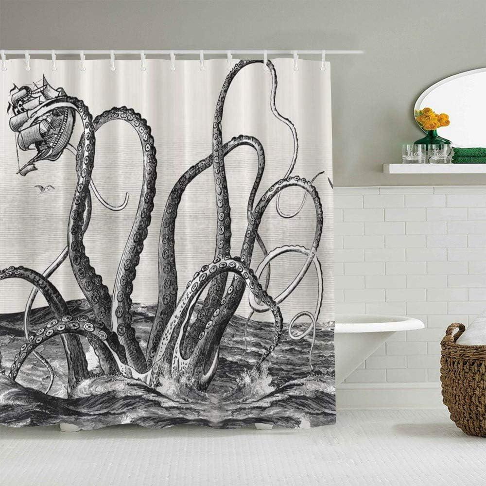 SUHETI Tende Doccia Tessuto,Giant Squid Sea Freak,Grande Tende Doccia Impermeabile E Lavabile,Tenda Vasca da Bagno con 12 Ganci Tenda Doccia