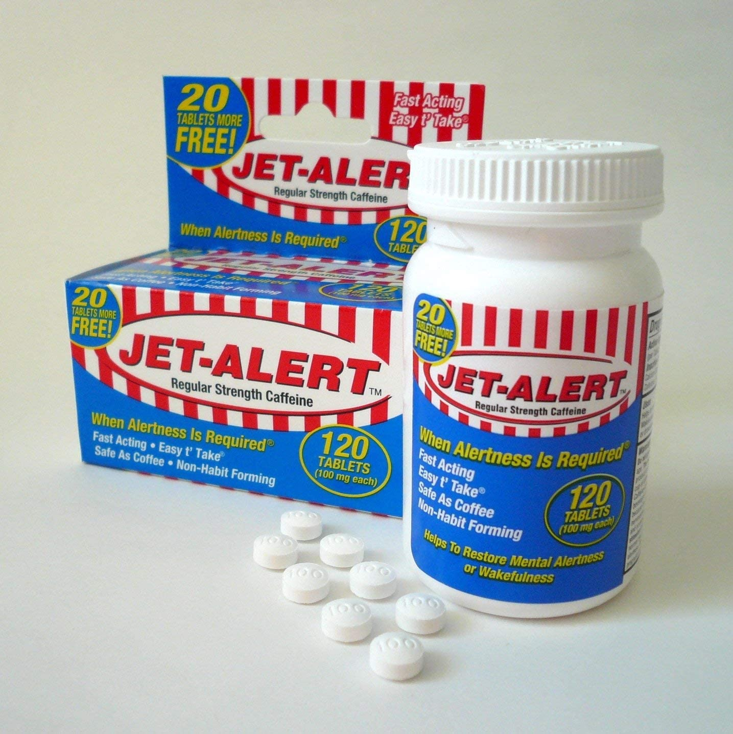 Jet-alert 100 Mg Each Caffeine Tab 120 Count Value Packs 2