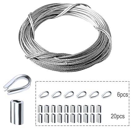 Amazon.com: Amadget - Cuerda de alambre de acero inoxidable ...