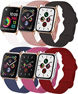 VATI 6-Pack Sport Bands Compatible with Apple Watch Band 40MM 44MM 38MM 42MM, Soft Silicone Watchbands Replacement Strap Compatible for iWatch SE Series 6/5/4/3/2/1 All Versions