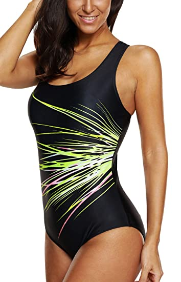f9e19ea5e56e6 maysoul Women Pro One Piece Swimsuits Racerback Bathing Suits Pro Swimwear  Small
