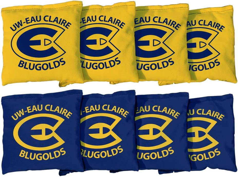 Victory Tailgate NCAA Collegiate Regulation Cornhole Game Bag Set University of Wisconsin Eau Claire Blugolds 8 Bags Included, Corn-Filled