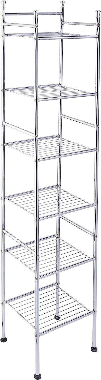 "Honey-Can-Do BTH-03484 6 Tier Metal Tower Bathroom Shelf, 12.6"" L x 11"" W x 59.8"" H, Chrome: Home & Kitchen"