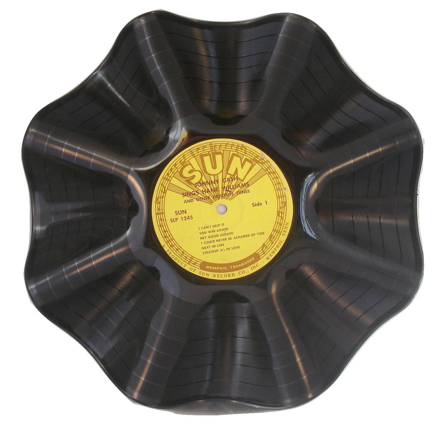 Vinyl Record Bowl hand made using a Johnny Cash vinyl record album
