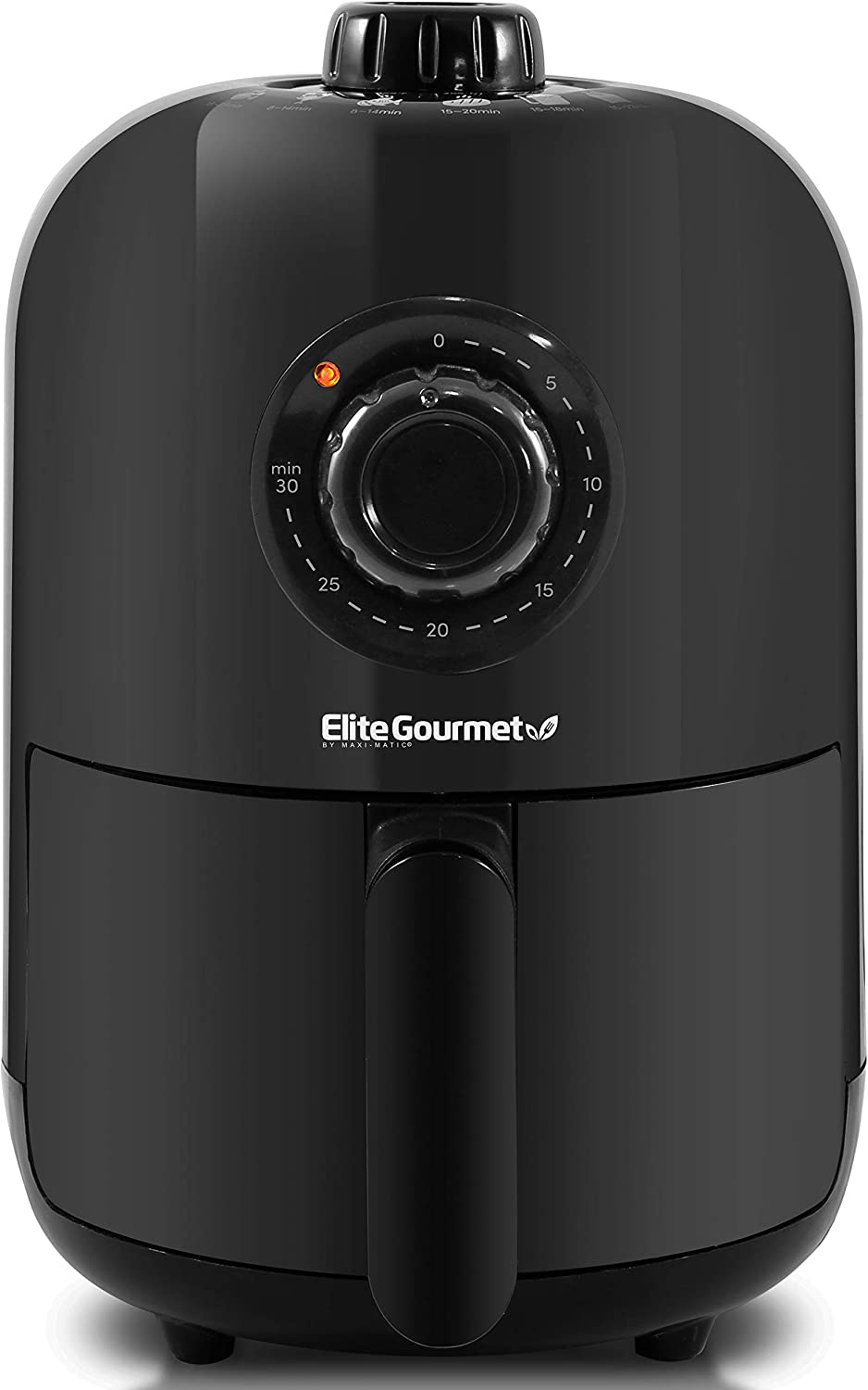 Elite Gourmet EAF1121 Personal 1.1 Qt. Compact Space Saving Electric Hot Air Fryer Oil-Less Healthy Cooker, Timer & Temperature Controls, PFOA/PTFE Free, 1000W
