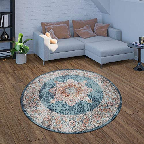 Indoor Outdoor Area Rug, Short-Pile for Balcony and Patio, Oriental Look in Blue, Size 5 3 x 7 7